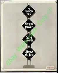 Vtg 50's Amoco Gas Sign/pump/can Retail Display Advertising Photo 8x10
