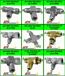 Hydraulic Steel 3-way Jic Sae T Piece Fitting Choice Of Config. And Cross Adaptor