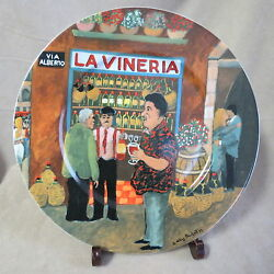 Guy Buffet Tuscan Storefronts La Vineria Dinner Plate In Excellent Condition
