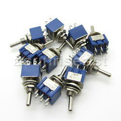 100 X Mini Toggle Switch Dpdt On-on Two Position Blue 6a 125v 3a 250v Mts-202