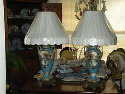 Pair Antique Nippon Bolted Porcelain Vases Made Into Lamps With New Lampshades