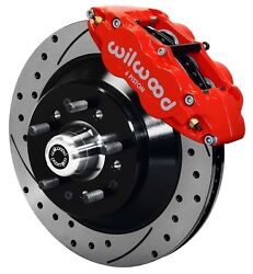 Wilwood Disc Brake Kit,front,70-72 Cdp Bande-body W/drum Spindles,13 Drilled,red