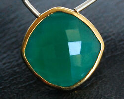 Green Onyx Cushion Briolette Gold Plated Focal Bead Pendant 19mm.