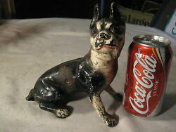 X RARE ANTIQUE HUBLEY BOSTON SITTING TERRIER CAST IRON ART STATUE DOORSTOP