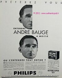 Publicite 1934 Poste Radio Philips Octode Super 521 Andre Bauge French Ad Advert