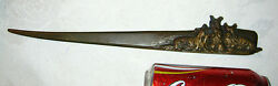 ANTIQUE SCOTTISH TERRIER DOG AUSTRIAN BRONZE DESK ART LETTER KNIVE OPENER KNIFE