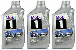 Mobil 1 V-twin 20w-50 Fully Synthetic Oil Harley V-twin Motorcycle 3 Quarts Bott