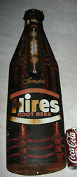 Antique Hires Root Beer Soda Art Metal Advertising Thermometer Bottle Cap Sign