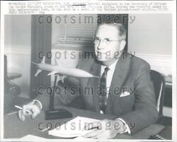 1957 W M Holaday At Pentagon w Model Of Terrier S-to-A Missile Press Photo