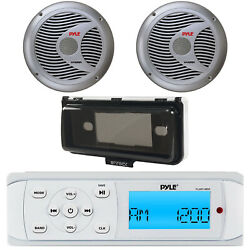 Pyle Plmr14bw Marine Boat Yacht Am/fm Mp3 Usb Stereo + Cover + 2x 6.5speakers