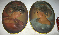 2 Antique Bradley And Hubbard Usa Cast Iron Lady Bust Wall Art Sculpture Plaques