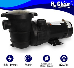 Rx Clear Above Ground .75 Hp Single Speed Pump For Swimming Pool W/ Cord
