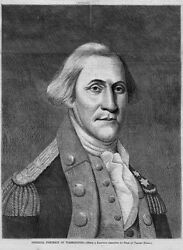 General George Washington At Valley Forge Portrait 1869 Antique Engraving