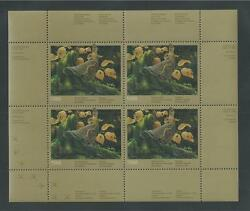 Canada Quebec, Qu-1 Wildlife Conservation Stamp Sheet Of 4, 1988, Ruffed Grouse