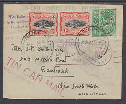 Tonga Sc 39, 40 On 1937 Tin Can Mail Cover To New South Wales