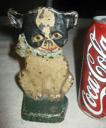 ANTIQUE HUBLEY SOLID CAST IRON IMP BOSTON TERRIER DOG ART STATUE DOOR DOORSTOP