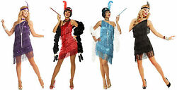 1920s Roaring 20and039s Adult Dazzling Flapper Gatsby Costume Dress Black Red Purple