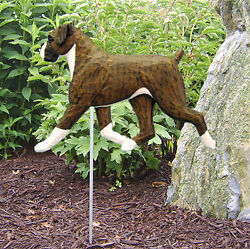 Boxer Uncropped Outdoor Garden Dog Sign Hand Painted Figure Brindle