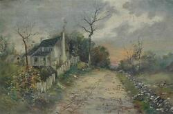 Original Antique Oil On Canvas Of A Farmhouse On A Dirt Road At Autumnal Sunset