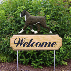 Boxer Uncropped Wood Welcome Outdoor Sign Brindle