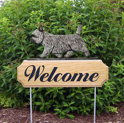 Cairn Terrier Dog Breed Oak Wood Welcome Outdoor Yard Sign Light Grey