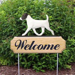 Jack Russell Terrier Dog Breed Oak Wood Welcome Outdoor Yard Sign BlackWhite