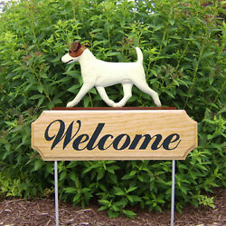 Jack Russell Terrier Dog Breed Oak Wood Welcome Outdoor Yard Sign BrownWhite