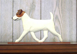 Jack Russell Terrier Dog Figurine Sign Plaque Display Wall Decoration BrownWhit