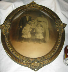 Antique Primitive Baby Dress Lady Wood Glass Picture Family Photo Art Toy Frame