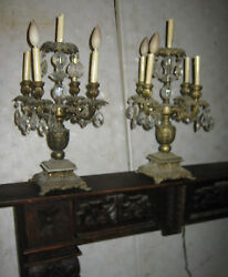 Two Antique Victorian Mantel Crystal Prism Candlelabra Candle Sconce Art Lamps