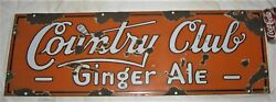 Antique Country Golf Club Sport Ball Ginger Ale Porcelain Soda Store Art Sign