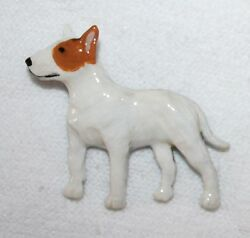 Bull Terrier White Brown Hand Painted Pewter Pin Jewelry Art USA Made