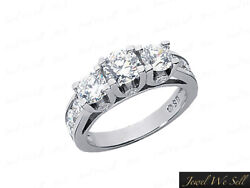 1.50ct Round Diamond Three Stone Engagement Ring 18kt White Gold G Si1 U-prong