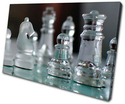 Hobbies Glass Chess Pieces Single Canvas Wall Art Picture Print Va