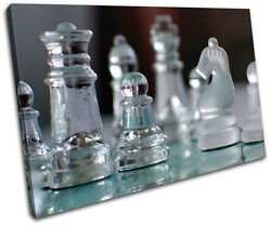Glass Chess Pieces Hobbies Single Canvas Wall Art Picture Print Va