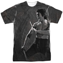 Bruce Lee Chinese Martial Arts Icon Dragon Print Adult 2-sided Print T-shirt