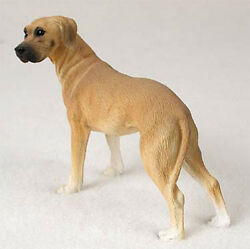 Great Dane Figurine Hand Painted Collectible Statue Fawn Uncropped