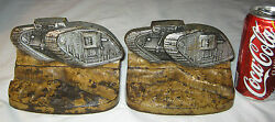 Antique Usa Judd Cast Iron Us Army War Tank Trench Art Soldier Military Bookends