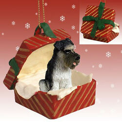 Schnauzer Grey UnCropped Dog RED Gift Box Holiday Christmas ORNAMENT