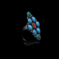 Navajo Indian L. Ganadonegro Sterling Silver Blue Turquoise Malachite Ring S 7