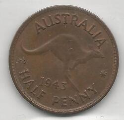 Australia, 1943m, 1/2 Penny, Bronze, Km41, Choice Almost Uncirculated 001