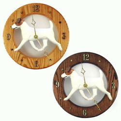 Jack Russell Terrier Wood Clock Wall Plaque BrownWhite