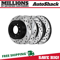 Front And Rear Drilled Slotted Disc Brake Rotors Set Of 4 For Ford Taurus Explorer
