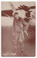 1920s Charles Lindbergh Photo Card Standing By Airplane