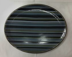 Denby Jet Stripes Oval Platter 14 1/8 Stoneware Brand New Made In England