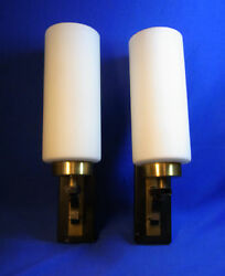 Pair Mid Century 70´s German White Glass Wall Lamps Sconces O/b