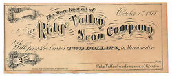 1873 Two Dollar Scrip From The Ridge Valley Iron Company Of Georgia