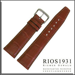 21x18 Mm Rios1931 For Panatime - Cognac Spitfire - Alligator Watch Band For