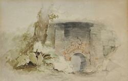 Antique Watercolor Of Stone Bridge And Archway By Henry John Boddington 1811-1865