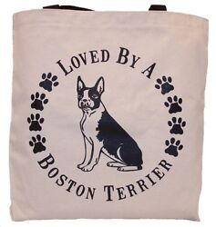 Loved By A Boston Terrier Tote Bag New MADE IN USA